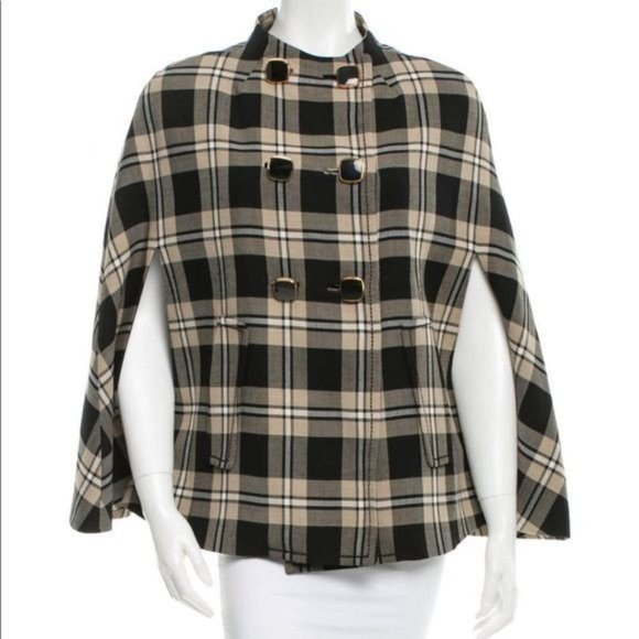 Kate Spade The Plaid Sophie Cape Wool Blend Small